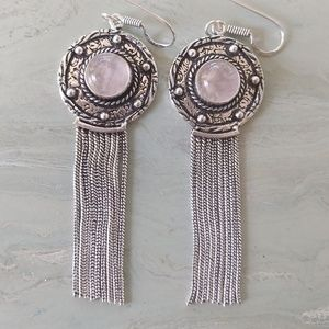 Jewelry - Gorgeous Natural pink quartz rustic earrings